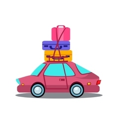 Car Side View With Heap Of Luggage vector image