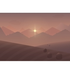 Cartoon sunset Mountain Landscape Background with vector image vector image