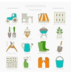 Gardening icons Unique and modern set isolated on vector image vector image