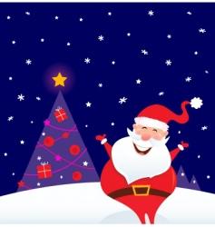 happy santa and christmas tree vector image vector image