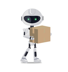 Robot standing with parcel vector