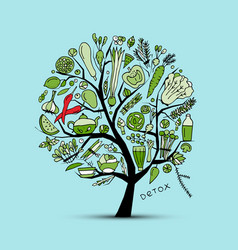 tree with green vegetables sketch for your design vector image