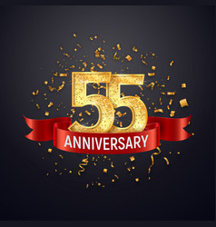 55 years anniversary logo template on dark vector image