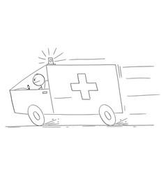 Ambulance responding to emergency cartoon stick vector