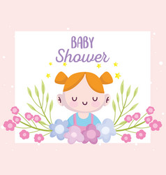 Bashower cute little girl with flowers vector