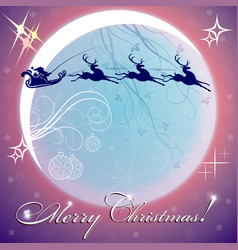 Blue christmas background with moon vector