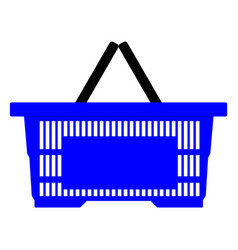 blue empty shopping basket isolated on white vector image