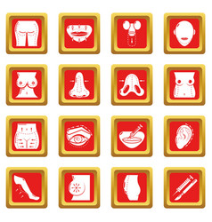 Body parts icons set red square vector