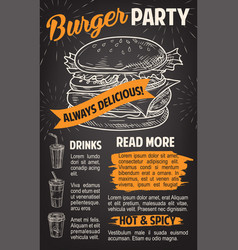 Burger poster for fast food restaurant template vector