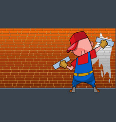 Cartoon man with two rollers paints a brick wall vector