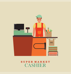 Cashier man smiles and standing in supermarket vector