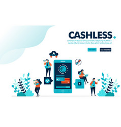Cashless society payment people transactions vector