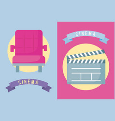 Chair with clapboard cinema icon vector