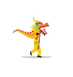 Chinese dragon and a man dancing in traditional vector