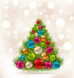 Christmas tree and colorful balls on light vector