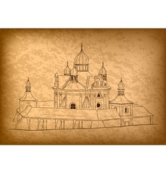 church on the old background vector image