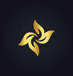 circle gold leaf floral logo vector image