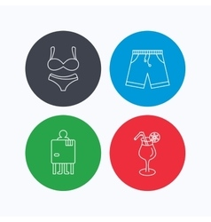 Cocktail lingerie and shorts icons vector image