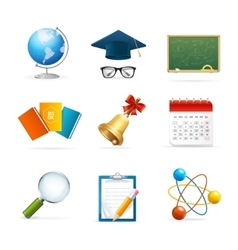 Colorful School Icon Set vector