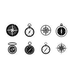 Compass icon set simple style vector