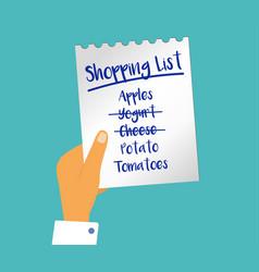 Concept person holding shopping list o vector