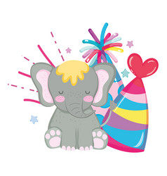 cute and little elephant character vector image