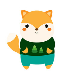 Cute fox cartoon kawaii animal character in vector