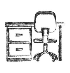 Desk chair workplace image sketch vector