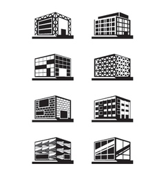 Different facades of buildings vector