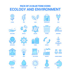 Ecology and enviroment blue tone icon pack - 25 vector