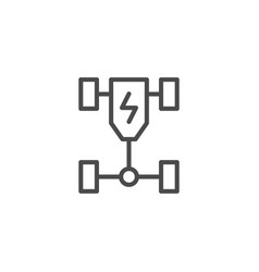 Electric car chassis line outline icon vector