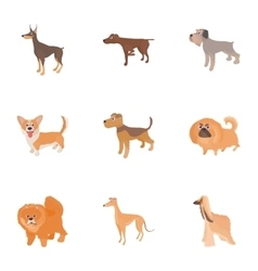Faithful friend dog icons set cartoon style vector