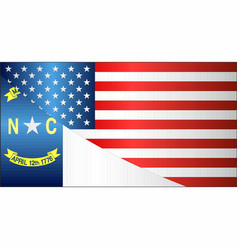 flag of usa and north carolina state vector image