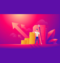 Flat isometric businessman working with document vector