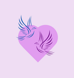 flying pigeons with heart vector image