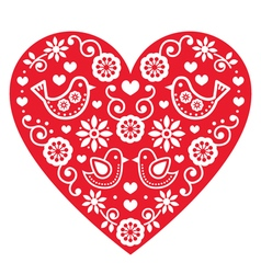 Folk art Valentines Day heart- love wedding vector
