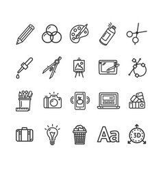 graphic design signs black thin line icon set vector image