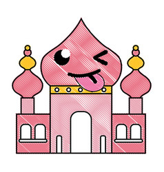Grated funny taj mahal kawaii cartoon vector