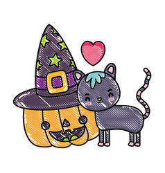 Grated happy pumpkin with hat and cute cat vector