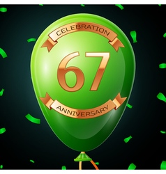 Green balloon with golden inscription sixty seven vector