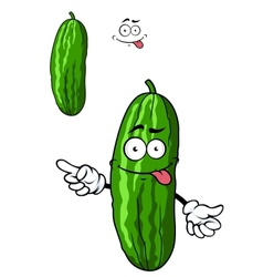 Green cartoon cucumber vegetable vector
