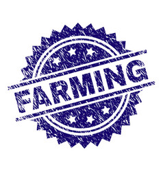 Grunge textured farming stamp seal vector