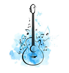 guitar and notes on a blue watercolor background vector image