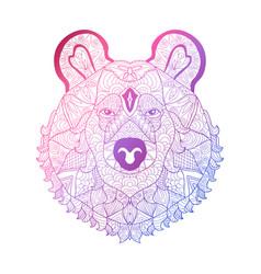 hand drawn neon bear vector image