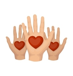 Hands up with hearts icon in cartoon style vector image
