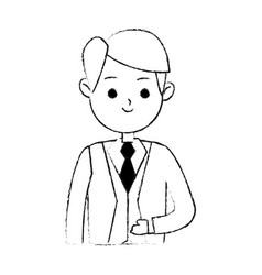 handsome man in suit icon image cute cartoon vector image