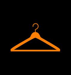 Hanger sign orange icon on black vector