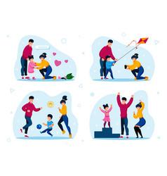 happy family outdoor recreation concept set vector image