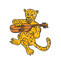 Happy jaguar playing acoustic guitar cartoon vector