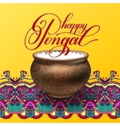 Happy pongal handwritten ink lettering inscription vector